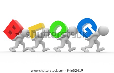 "3d people - human character, person and word ""blog"". 3d render - stock photo"