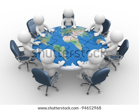 3d people - human character , person at a conference table with world map of puzzle pieces ( jigsaw ). 3d render - stock photo