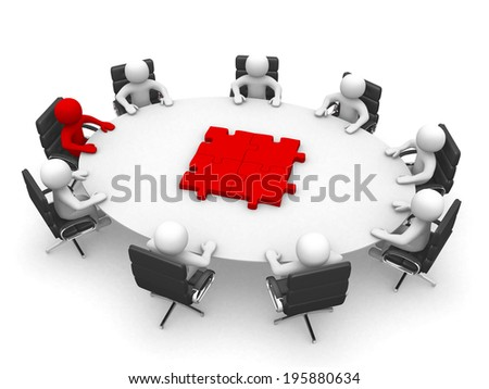 3d people - human character , person at a round table and puzzle pieces. jigsaw . 3d render - stock photo