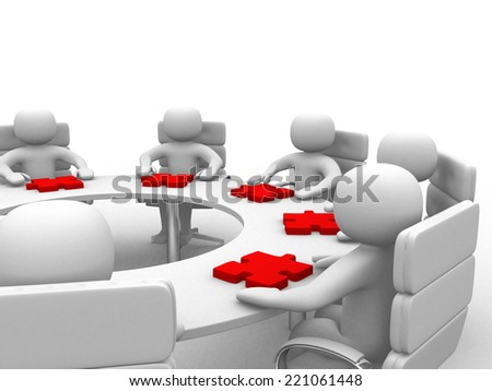 3d people - human character , person at a round table and puzzle pieces ( jigsaw) . 3d render - stock photo