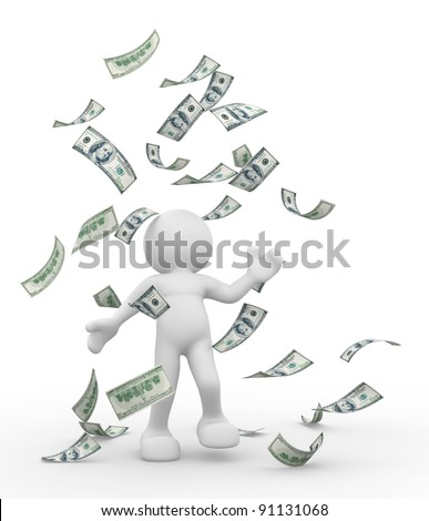 3d people - human character ,  person bathing in a heap of money.  3d render