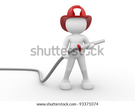 3d people - human character , person - fireman and a hose. 3d render - stock photo