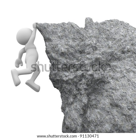 3d people - human character ,  person hanging from a cliff .  3d render illustration - stock photo