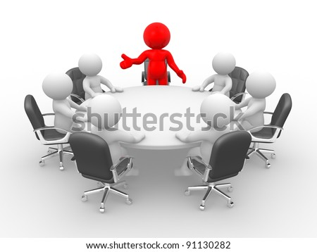 3d people - human character - person . Leadership and team at conference table. This is a 3d render illustration - stock photo