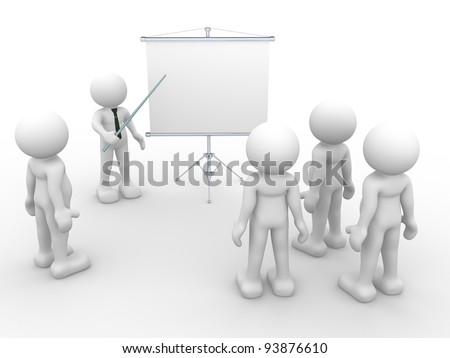 3d people - human character - person  presenting at a flip-chart. Leadership and team. 3d render illustration - stock photo