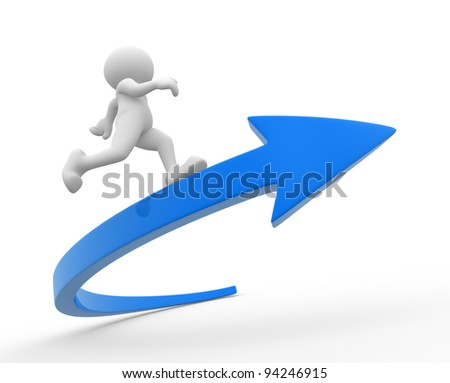 3d people - human character, person running on a arrow. Success. 3d render illustration - stock photo