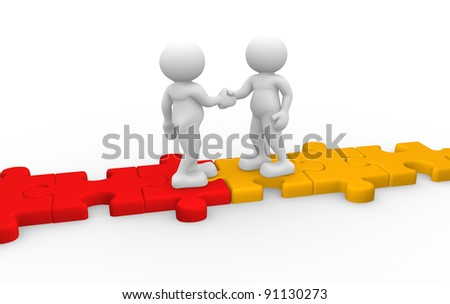 3d people - human character , person  shaking hands  and a jigsaw. 3d render illustration   - stock photo