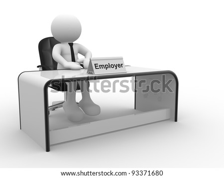 3d people - human character, person sitting at a office.  Employer . 3d render