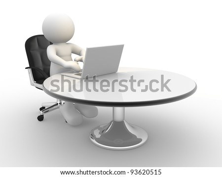 3d  people - human character , person sitting at the table and working on a laptop computer. 3d render