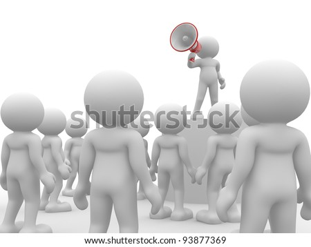 3d people - human character , person speaking at megaphone in front of the crowd. 3d render illustration - stock photo