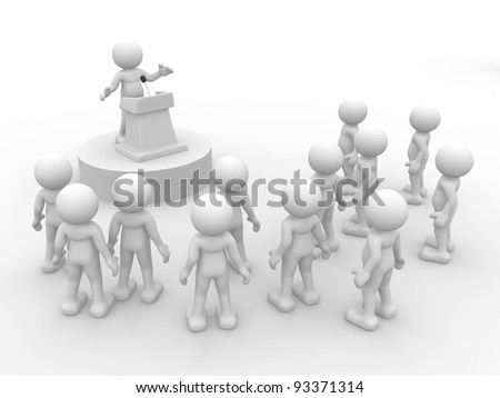 3d people - human character , person  speaking from a tribune. Speech at the microphone.  3d render