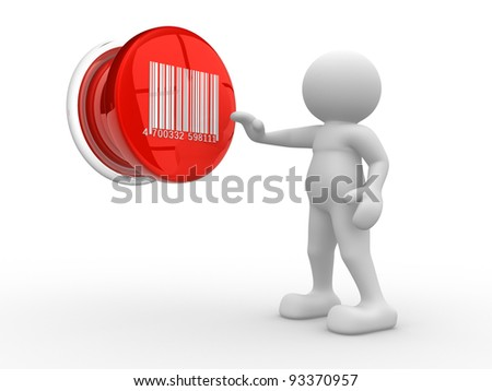 3d people - human character , person with a button, and barcode . 3d render - stock photo