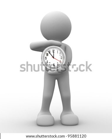 3d people - human character, person with a clock. 3d render - stock photo