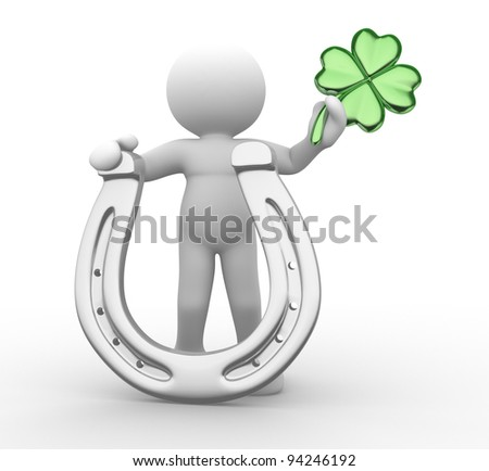 3d people - human character, person with a horseshoe and  a four-leaf clover ( shamrock). Sf. Patrick. 3d render - stock photo