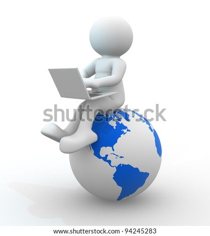 3d people - human character  person with a laptop and a Earth globe. 3d render - stock photo