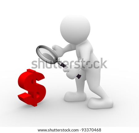 3d people - human character, person with a magnifying glass and the dollar symbol . 3d render illustration