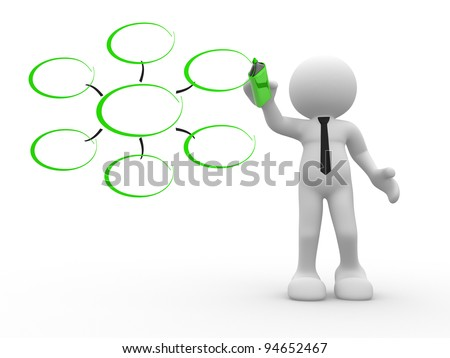 3d people - human character, person with a marker. Conceptual image of drawing blank chart. 3d render