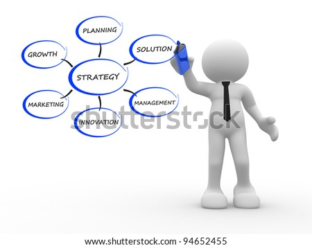 3d people - human character, person with a marker. Conceptual image of strategy. 3d render - stock photo