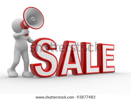 "3d people - human character, person with a megaphone and word "" Sale"" . Discounts . 3d render"