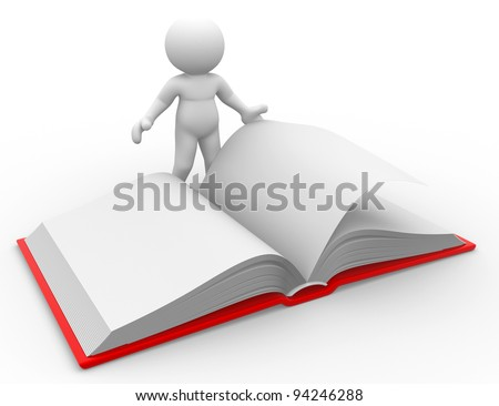 3d people - human character, person with a open book. 3d render - stock photo
