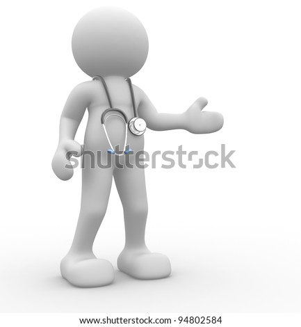 3d people - human character, person with a stethoscope. Doctor. 3d render - stock photo
