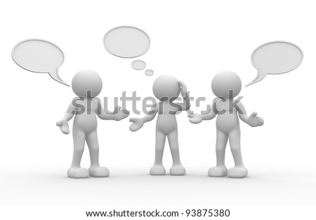 3d people - human character, person  with blank bubble. Message.  3d render