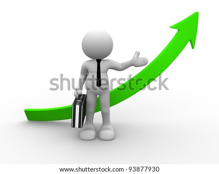 3d people - human character, person with briefcase and arrow success. Financial graph. 3d render