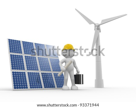 3d people - human character, person with briefcase and  solar panels, wind turbines (  wind-power ). Engineer . 3d render - stock photo