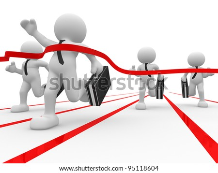 3d people - human character, person with briefcase and tie.  Businessman at the finish. Winner. 3d render - stock photo