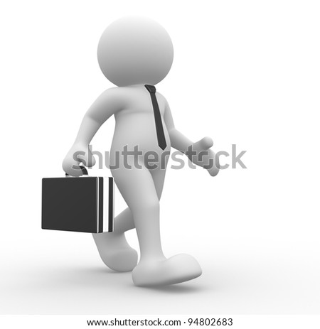 3d people - human character, person with briefcase and tie. Businessman. 3d render