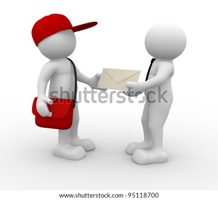 3d people - human character, person with cap  and bag. Postman with envelope and a businessman. 3d render