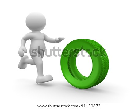 3d people - human character  person with car tire. 3d render illustration - stock photo