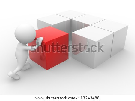 3d people - human character - person with cubes - stock photo