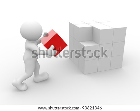 3d people - human character - person with cubes . 3d render illustration - stock photo