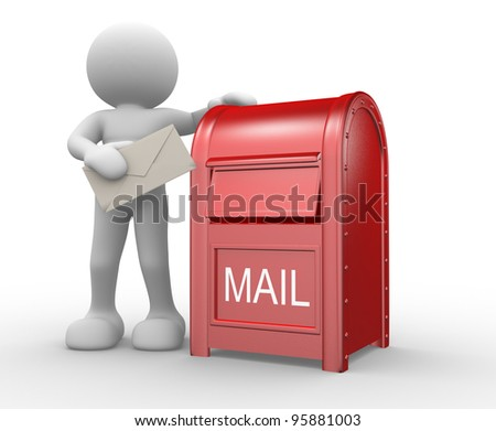 3d people - human character, person  with envelope and  a mail box ( postbox  letterbox). 3d illustration - stock photo