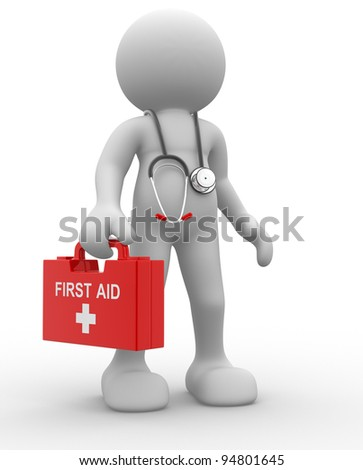 3d people - human character, person with first aid and a stethoscope. Doctor. 3d render - stock photo