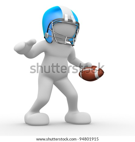 3d people - human character, person with helmet and ball. American football player. 3d render