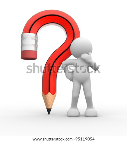 3d people - human character, person with pencil question mark.  3d render - stock photo