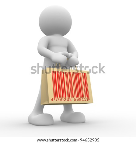 3d  people - human character, person with shopping bag and barcode ( bar code ). 3d redner - stock photo