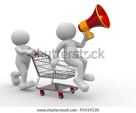 3d people - human character, person with shopping cart and a megaphone. 3d render - stock photo