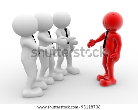 3d people - human character, person with tie. Businessman handshake. Partnership. 3d render - stock photo