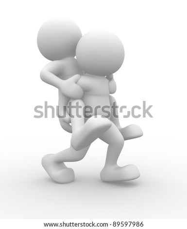 3d people - human character , piggyback. This is a 3d render illustration - stock photo