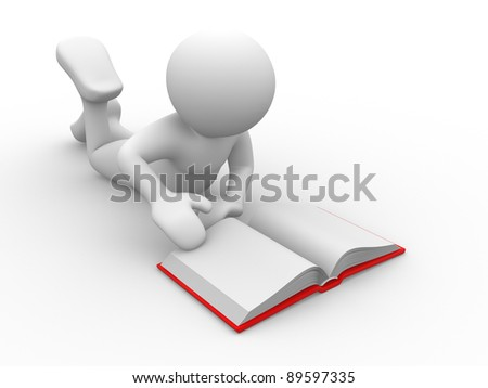 3d people - human character- reading book. 3d render illustration - stock photo