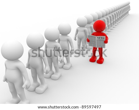 3d people - human character, reading newspaper  - leadership. This is a 3d render illustration - stock photo