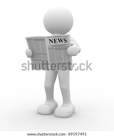 3d people - human character, reading newspaper . This is a 3d render illustration - stock photo