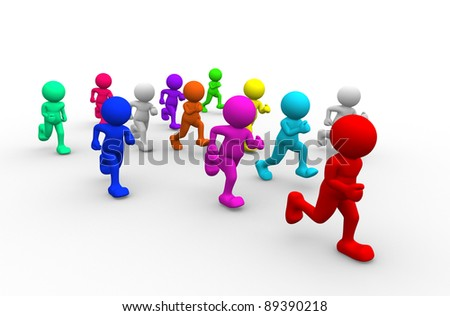 3d people - human character run - athletics. 3d render illustration - stock photo