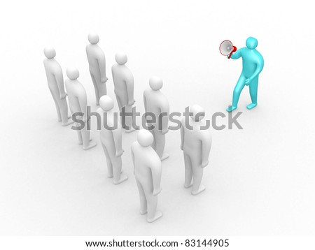 3d people- human character speaking at megaphone in front of the crowd. This is a 3d illustration - stock photo