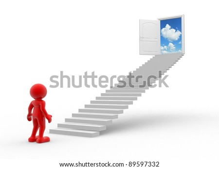 3d people - human character , stairs and a  open door. This is a 3d render illustration - stock photo