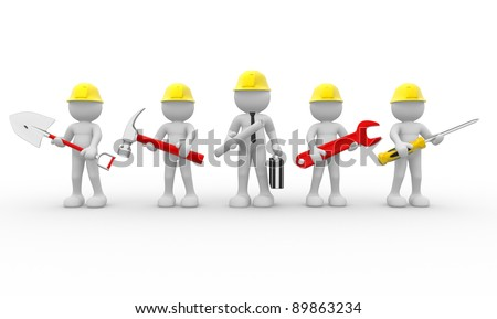 3d people - human character, team of construction workers  and  construction engineer.  3d render illustration - stock photo