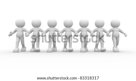3d people - human character- team. This is a 3d render illustration - stock photo
